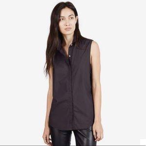 Everlane sleeveless button up top black large